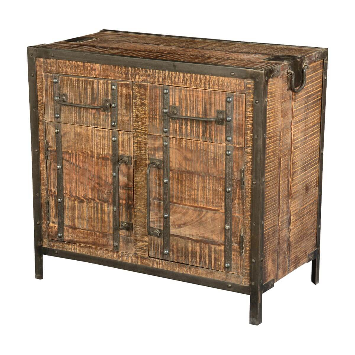 Industrial Rustic Iron & Mango Wood Freestanding Buffet Cabinet. Full resolution‎  file, nominally Width 1200 Height 1200 pixels, file with #B28C19.