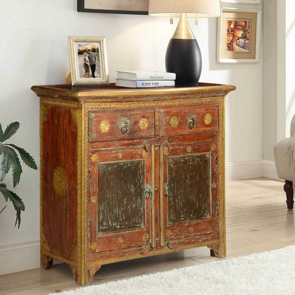 Golden Medallions Rustic Mango Wood Freestanding Buffet Cabinet. Full resolution‎  file, nominally Width 1200 Height 1200 pixels, file with #B28C19.