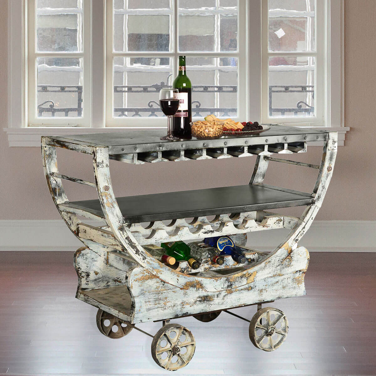 rustic mango wood industrial rolling wine bar cart w glass. Black Bedroom Furniture Sets. Home Design Ideas