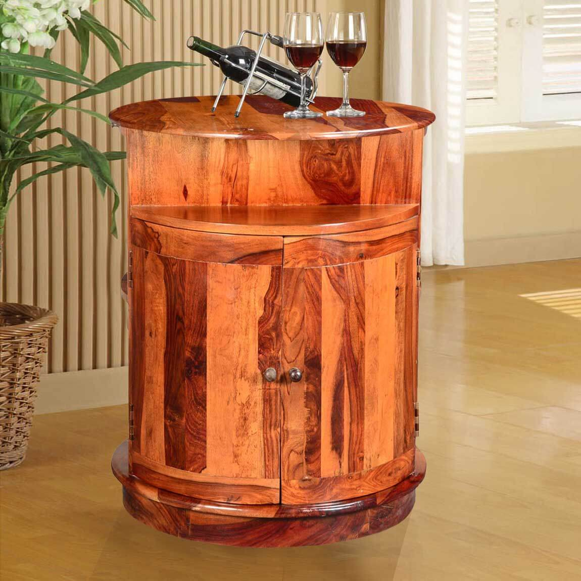 Marion Rustic Solid Wood 2 Sided Barrel Wine Bar Cabinet