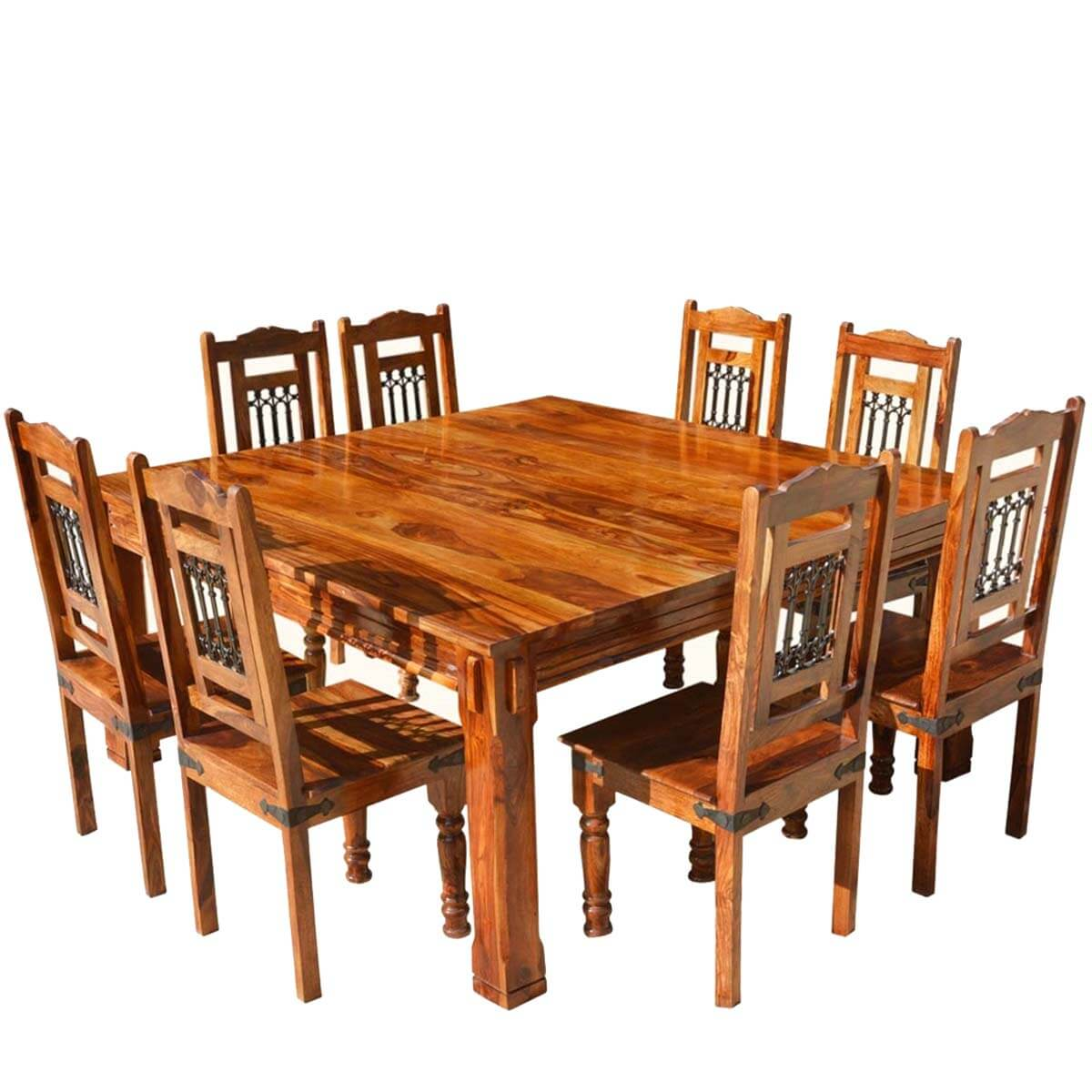 Transitional solid wood rustic square dining table chairs set for Solid wood dining set