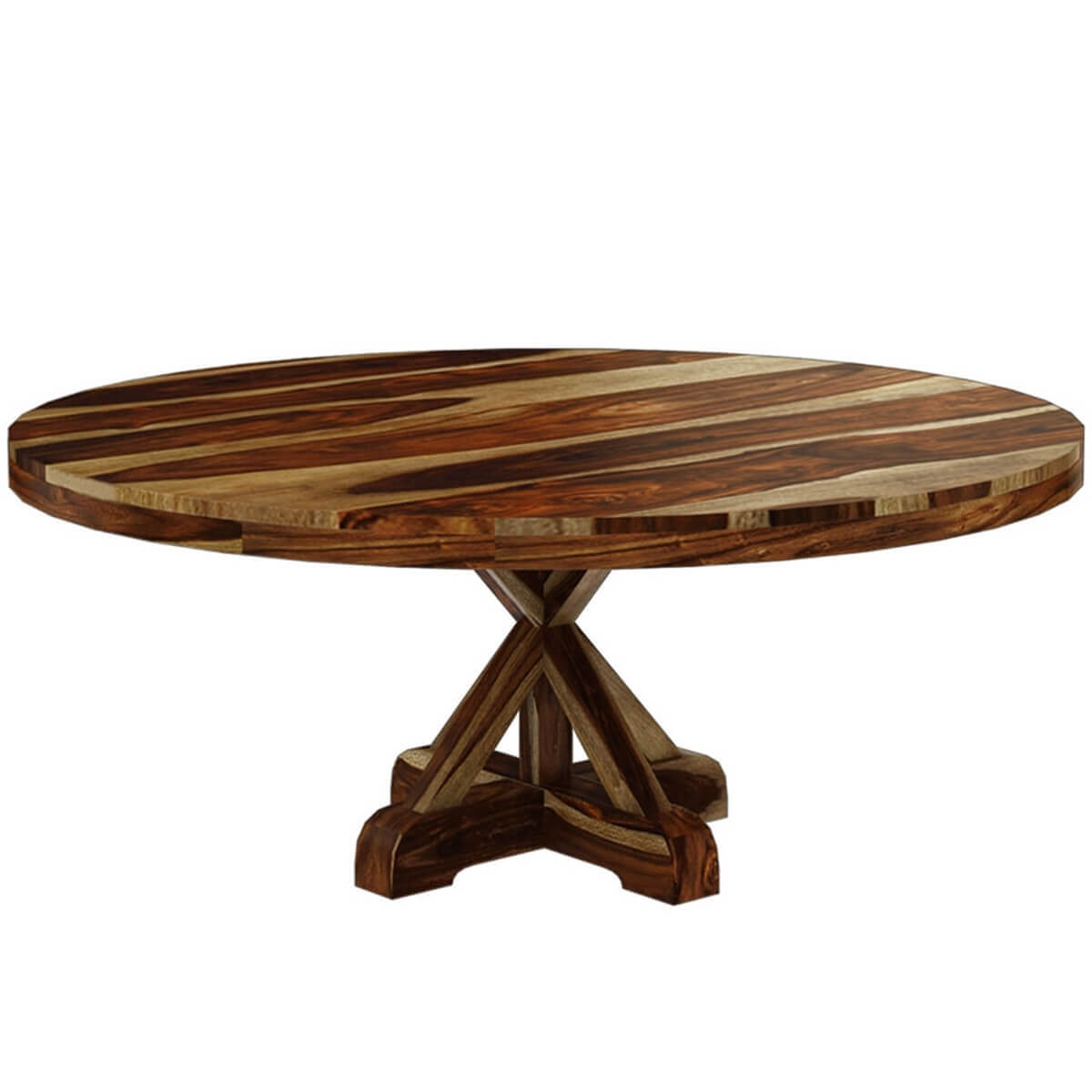 dallas ranch rustic solid wood 72 x pedestal round dining table