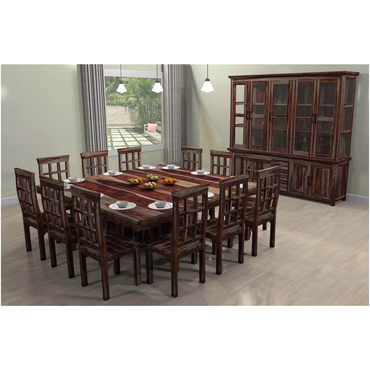 Dallas Ranch Square Pedestal Large Dining Table Chair