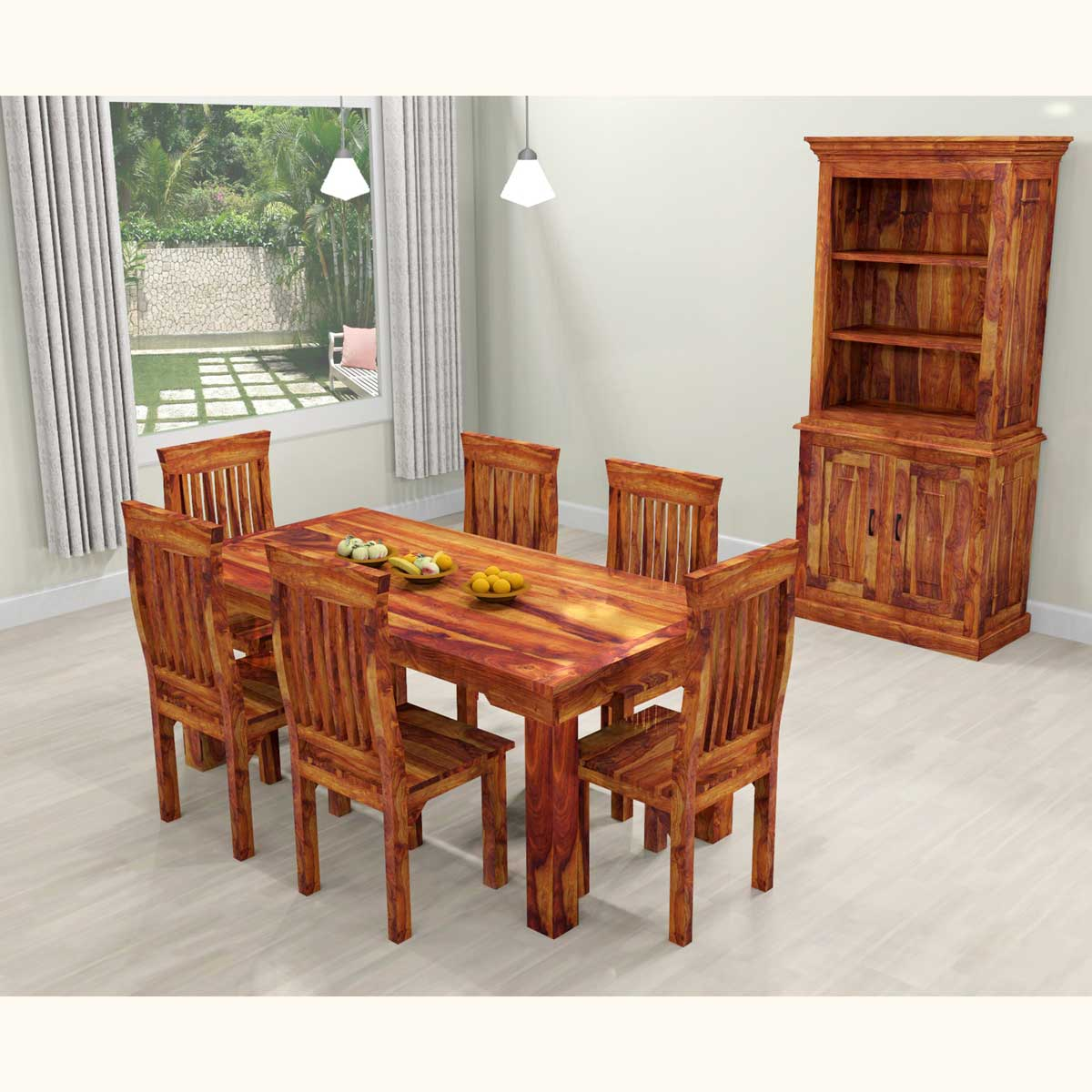 Dallas ranch solid wood rustic dining table chairs hutch set Dining room furniture dallas