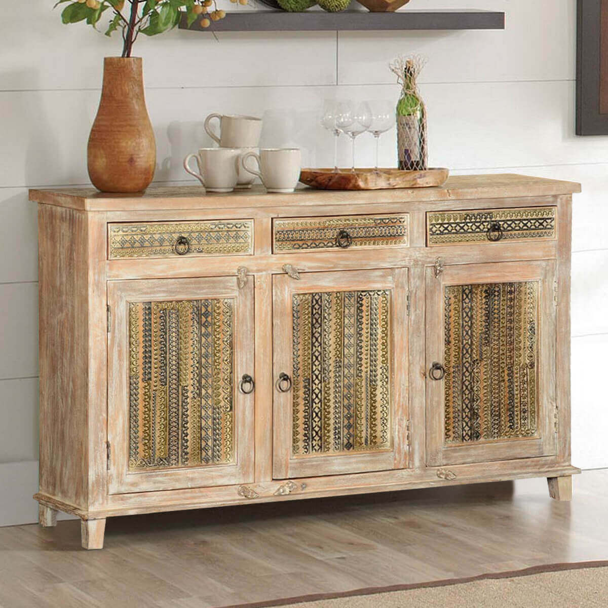 Marvelous photograph of Modern Mosaic Winter White Mango Wood Buffet Cabinet with #AB8020 color and 1200x1200 pixels
