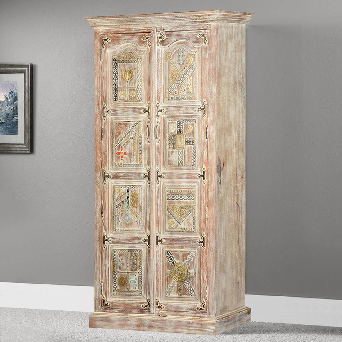 Modern Mosaic Mango Wood Armoire Wardrobe 70.5 Cabinet. Full resolution  portrait, nominally Width 1200 Height 1200 pixels, portrait with #BB2A10.
