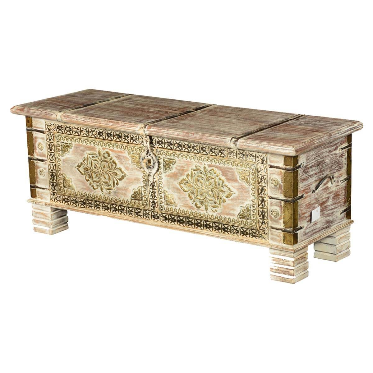 Winter White Double Diamond Mango Wood Storage Coffee Table Chest
