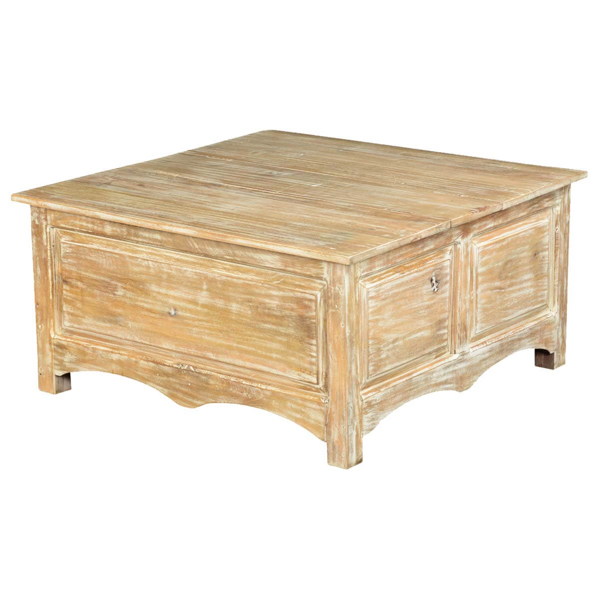 Winter White Mango Wood Double Lid Storage Coffee Table Chest