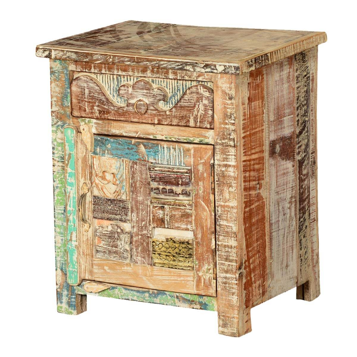 Wooden patches mango wood rustic nightstand mini cabinet for Rustic wood nightstand