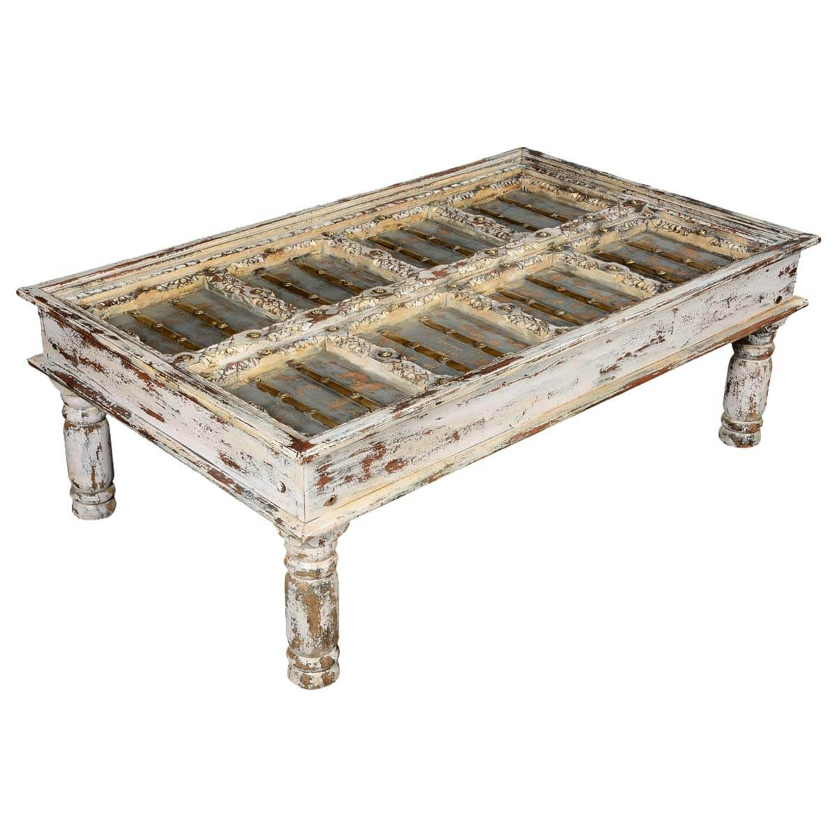 Winter white distressed mango wood coffee table White wood coffee table