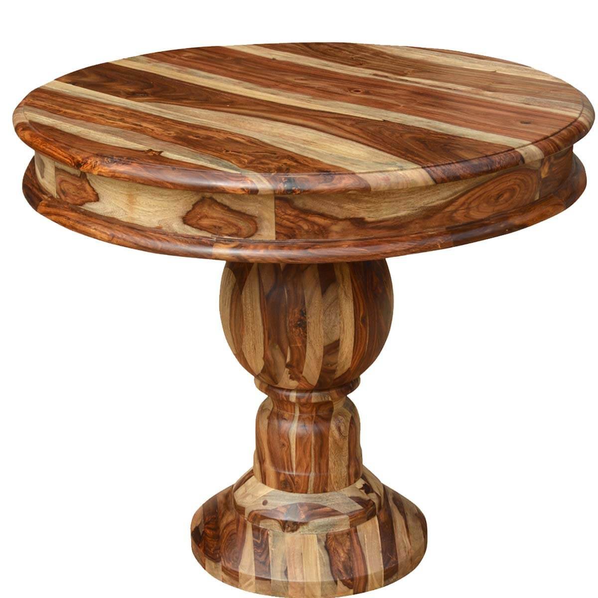 "Round Solid Wood Dining Table: Dallas Solid Solid Wood 35"" Round Pedestal Dining Table"