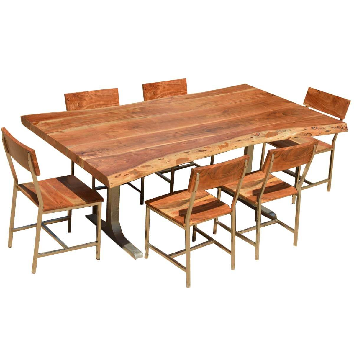 Sierra solid wood rustic live edge dining table chairs set for Wood dining table set