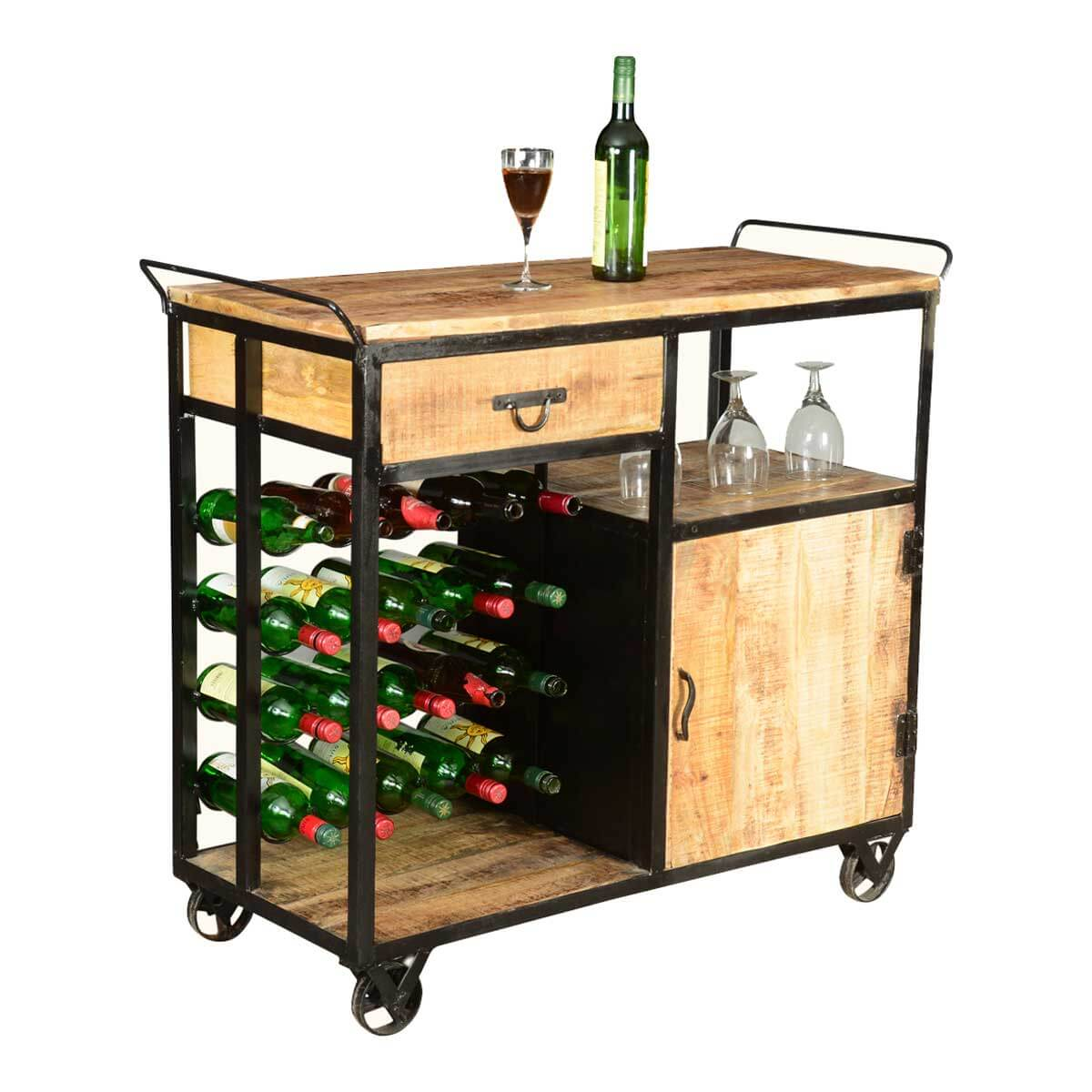 Celebration Wood Amp Industrial Iron Deluxe Rolling Wine Bar
