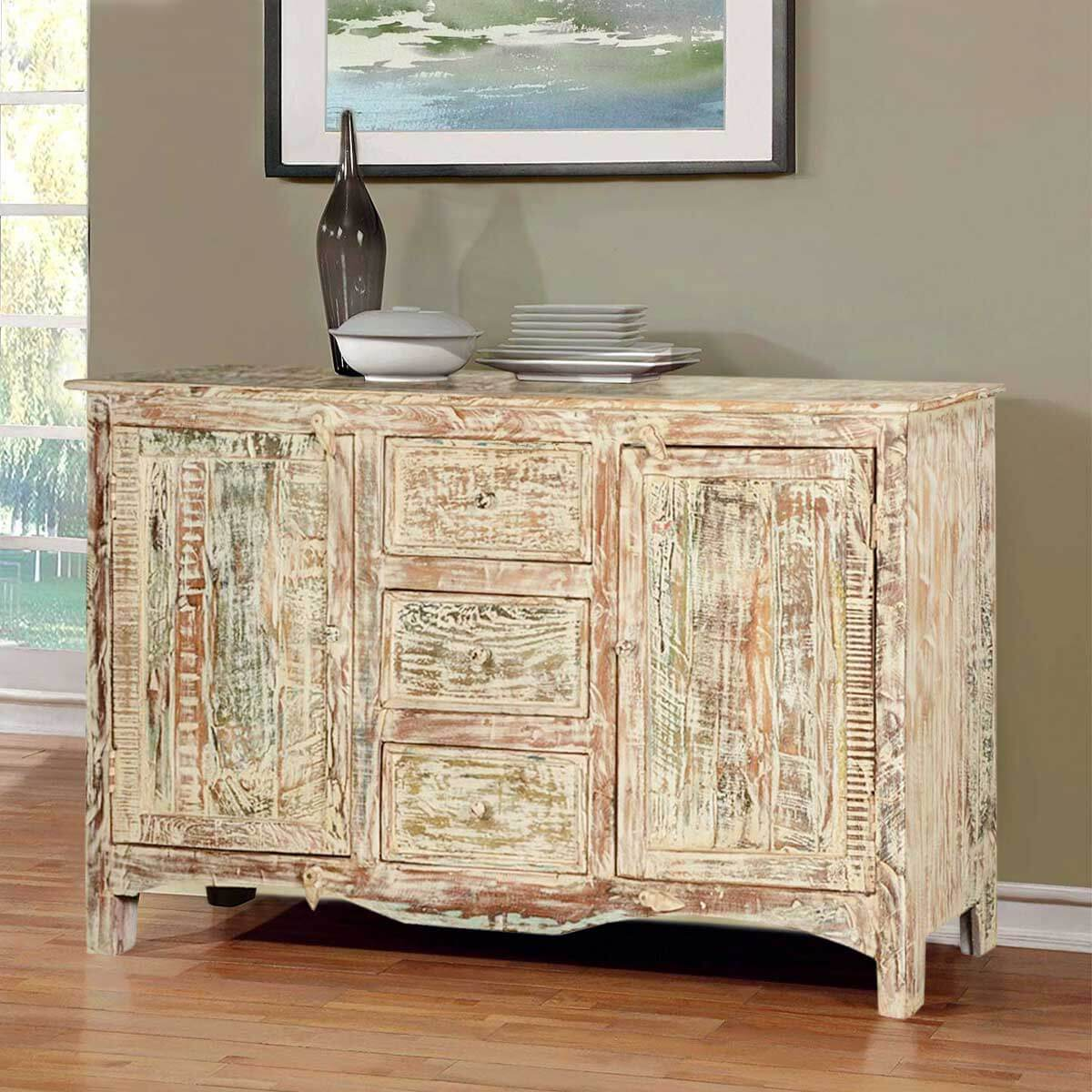 Marvelous photograph of Antique White Mango Wood Standing Sideboard Buffet Cabinet with #AD841E color and 1200x1200 pixels