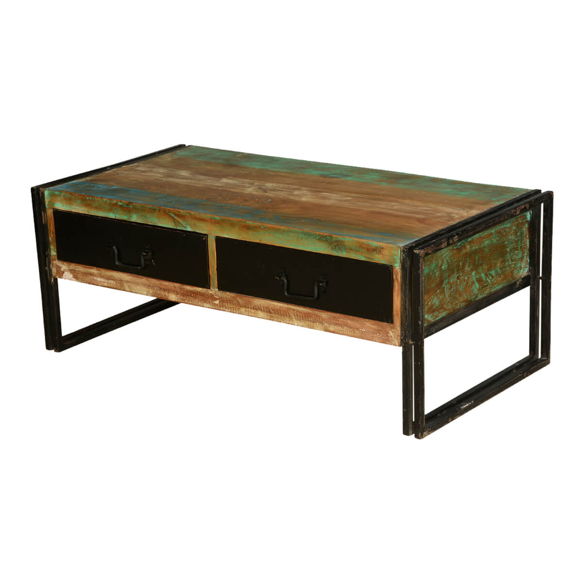 Industrial Reclaimed Wood Iron Tv Console Media Island Table