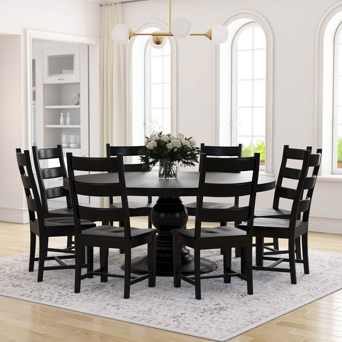 Nottingham rustic solid wood black round dining room table set for Wood dining table set