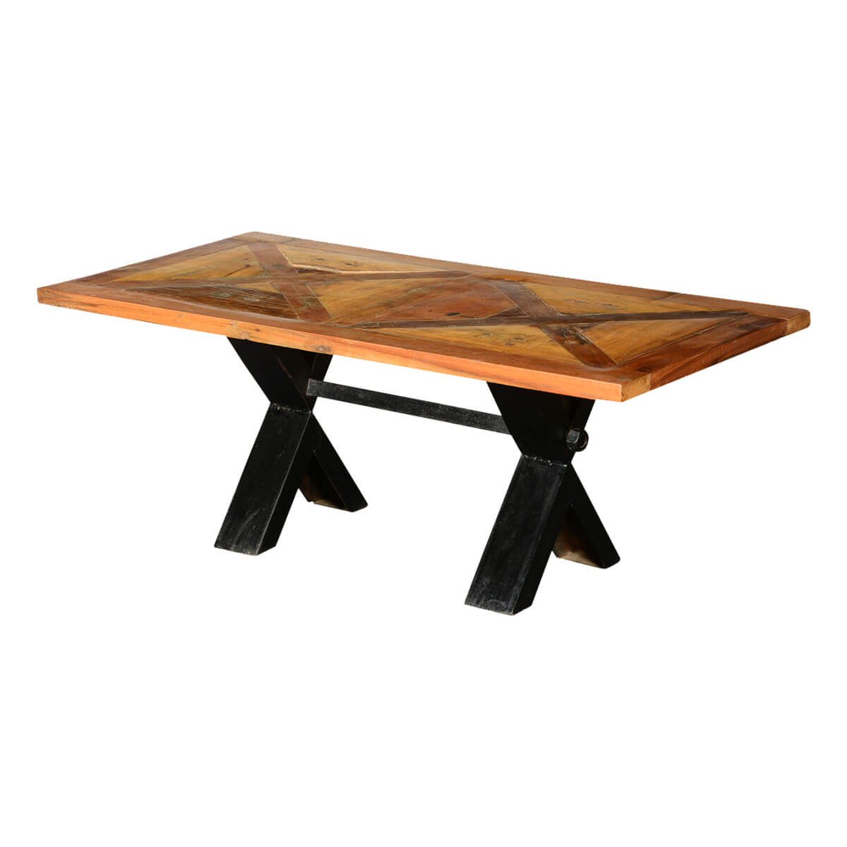Double X Reclaimed Wood Iron Picnic Trestle Coffee Table