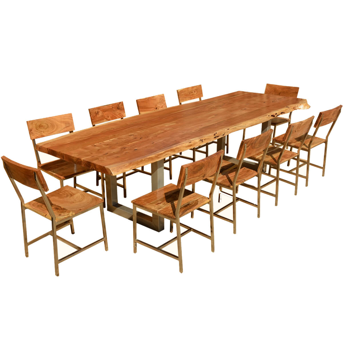 "Dining Table Set For 10: Live Edge Acacia Wood & Iron 117"" Modern Rustic Dining"