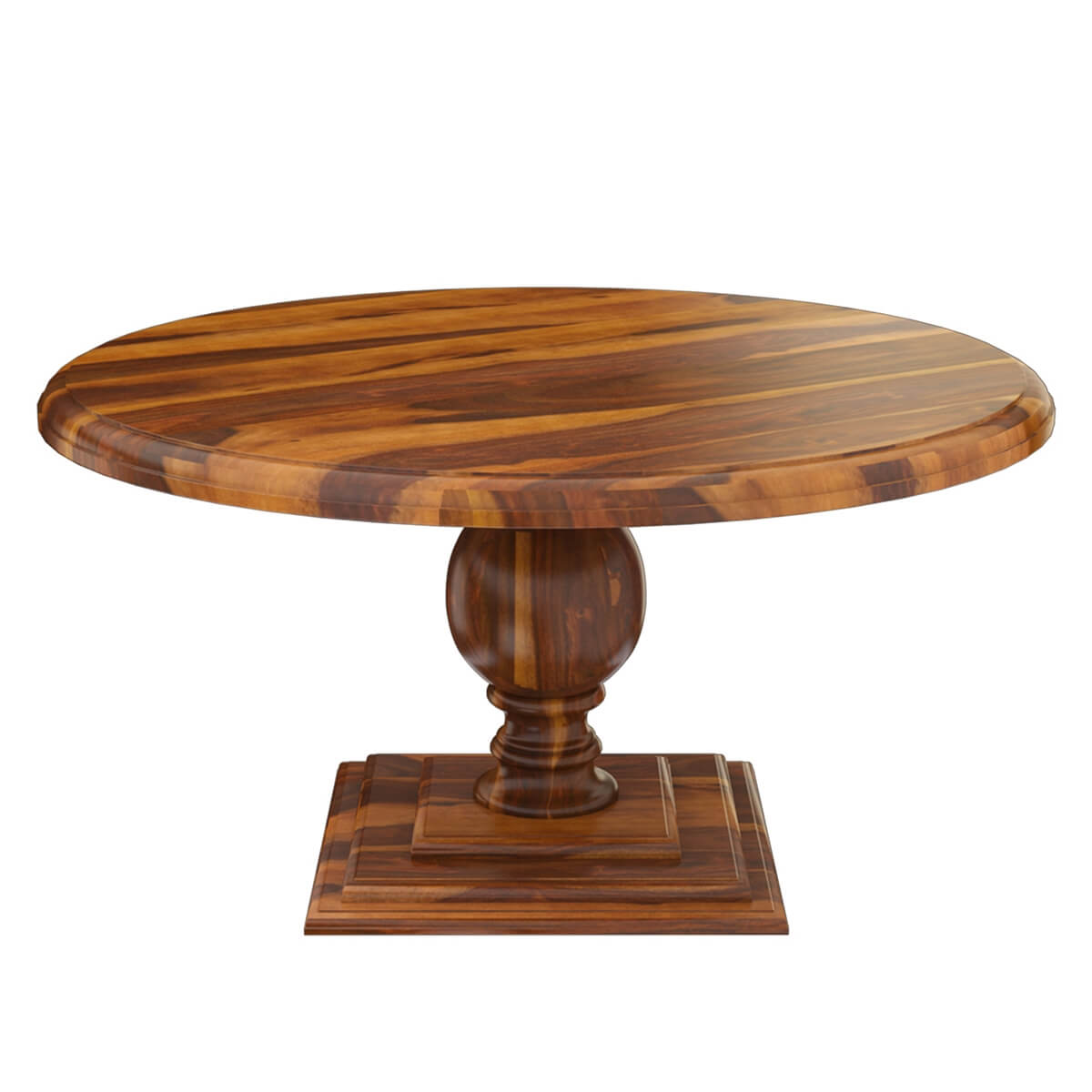 smoke circles mango wood round dining table w pedestal base. Black Bedroom Furniture Sets. Home Design Ideas