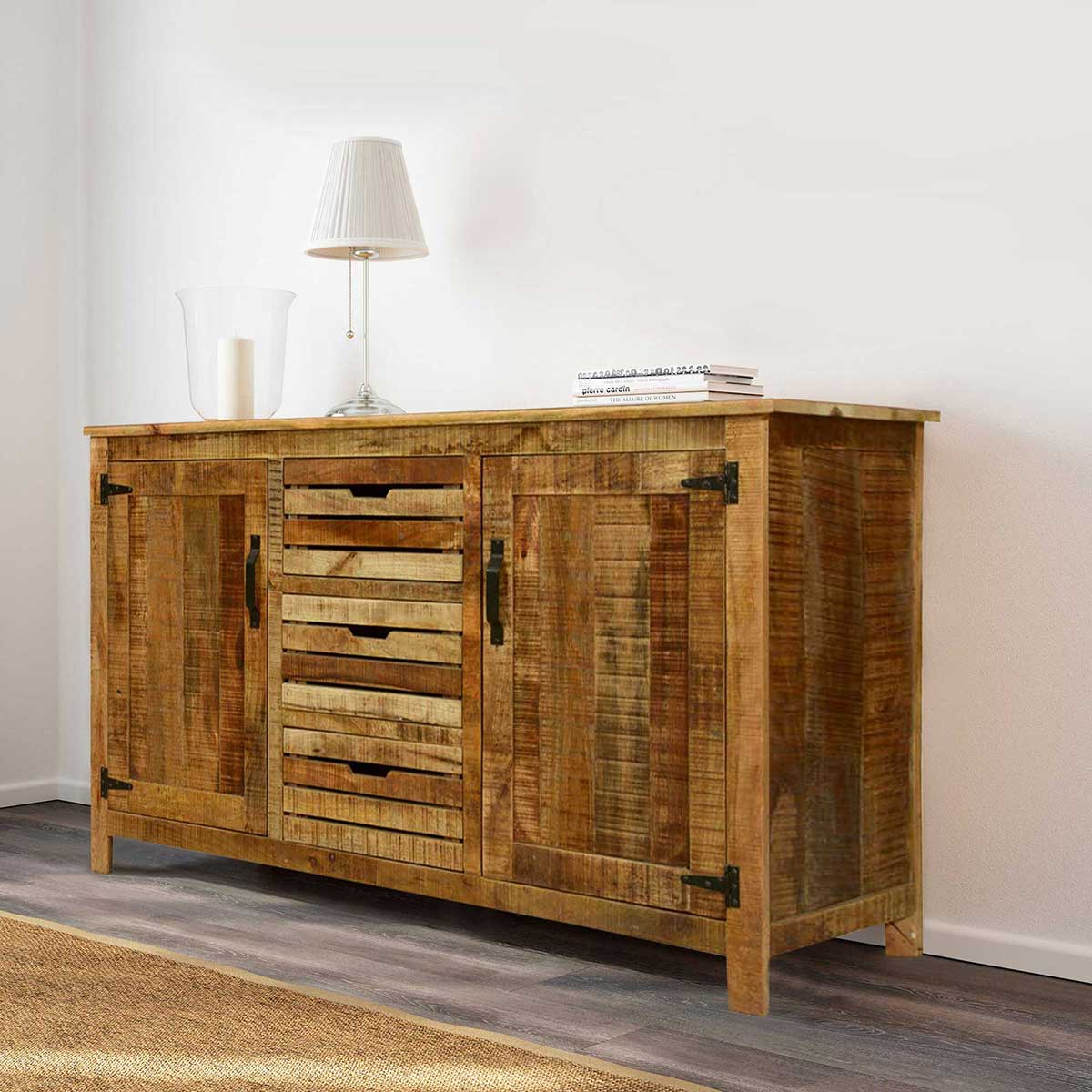 "Rustic Stripes Mango Wood 63"" Standing Sideboard Buffet Cabinet . Full resolution‎  file, nominally Width 1200 Height 1200 pixels, file with #B28C19."
