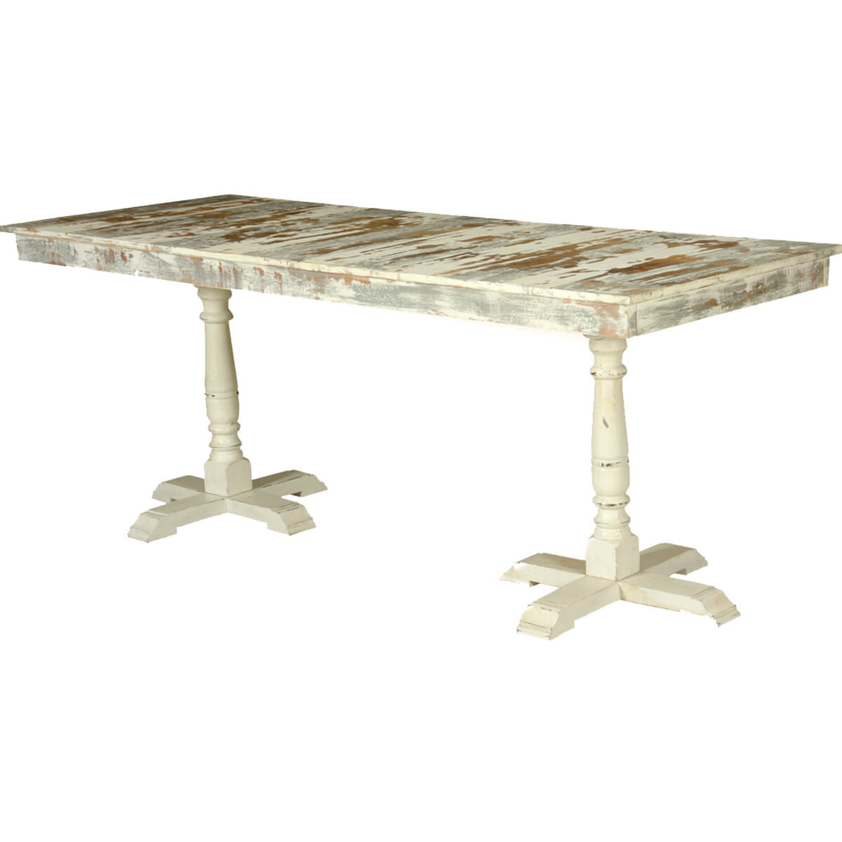 Grey white distressed mango wood 78 5 2 pedestal dining for Distressed white dining table