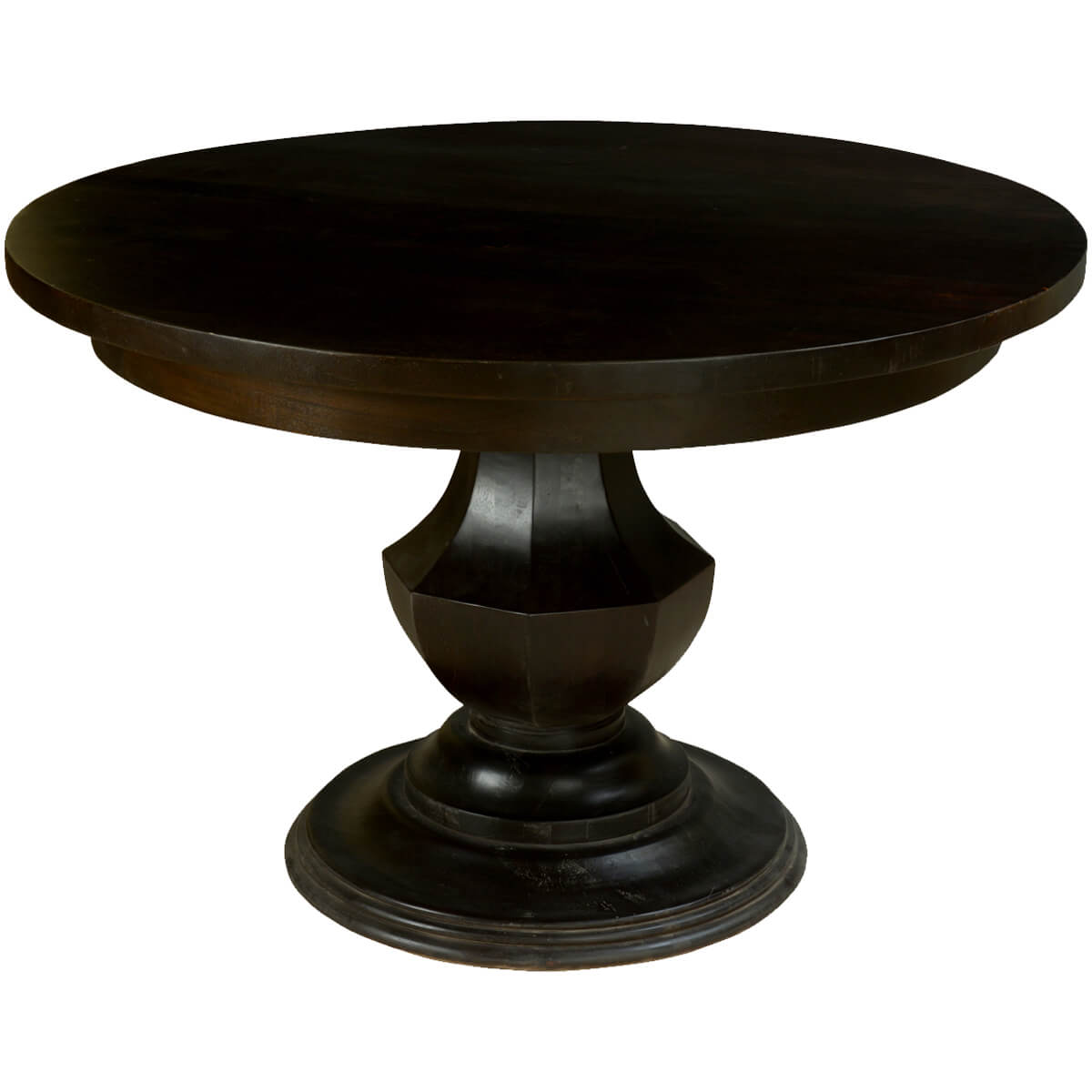 Midnight solid mango wood round pedestal dining table for Solid wood round tables dining