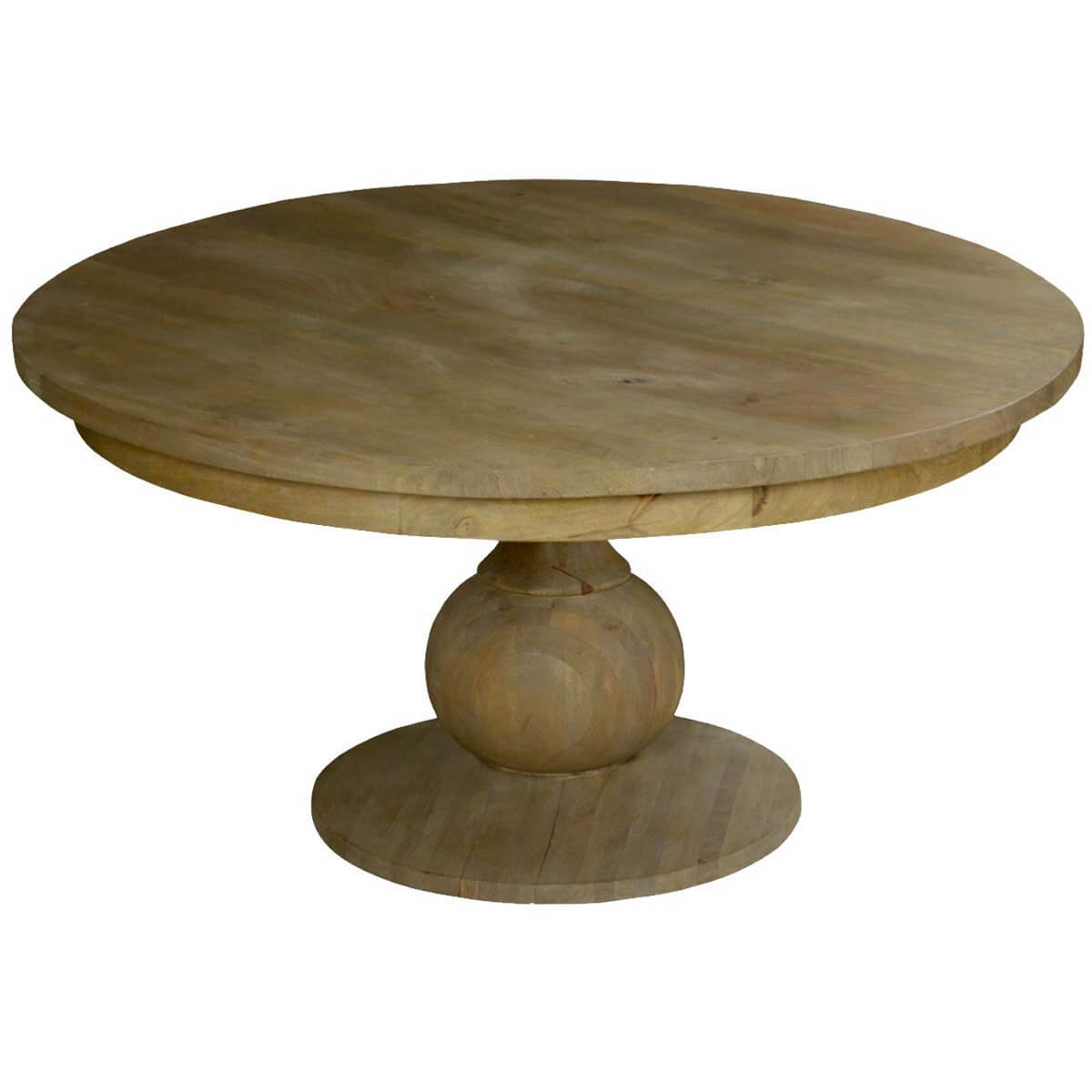 Smokey Tan Solid Mango Wood 60 Round Pedestal Dining Table