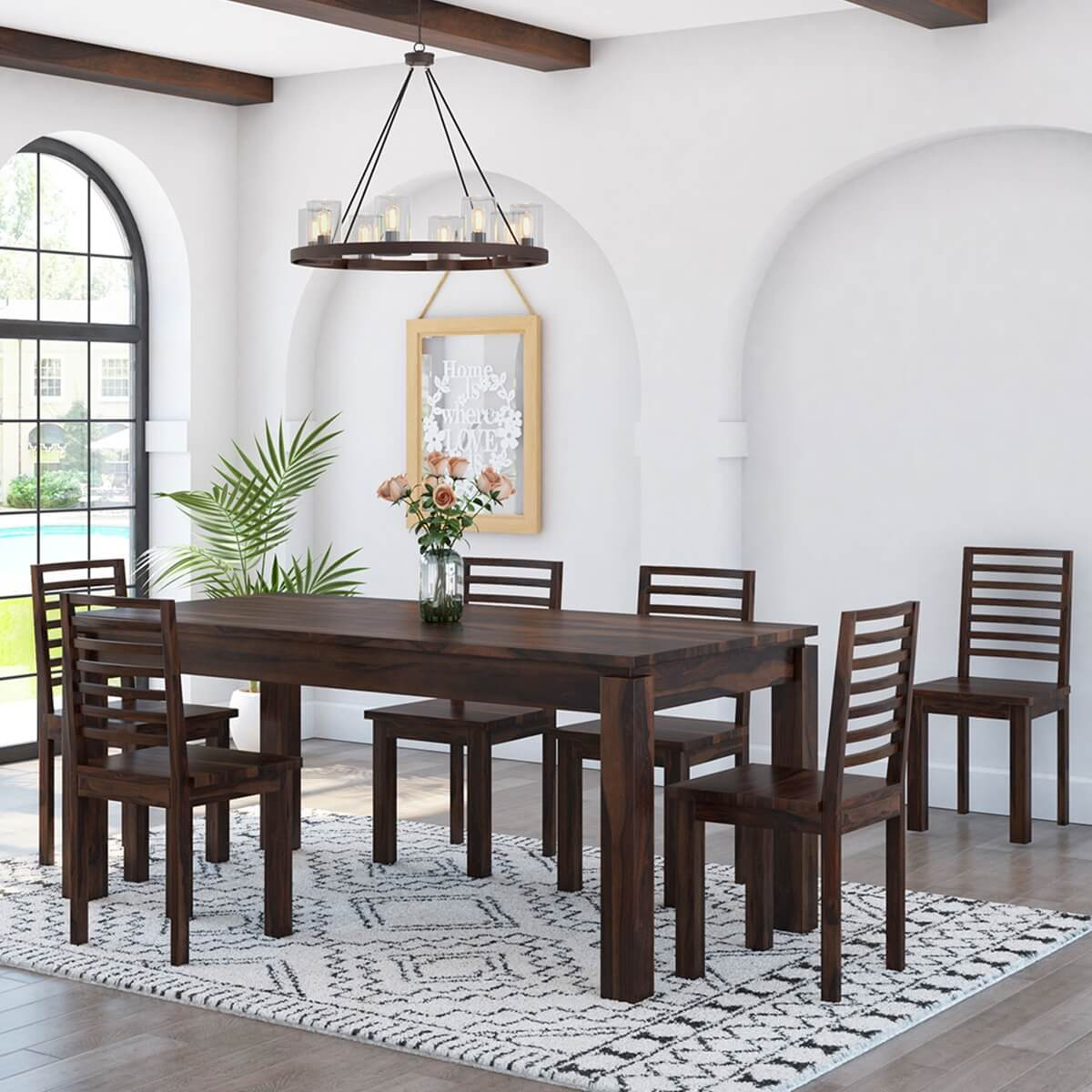 Wonderful image of Classic Comfort Mango Wood 60 Dining Table 4 Upholstered Chairs with #B48317 color and 1200x1200 pixels