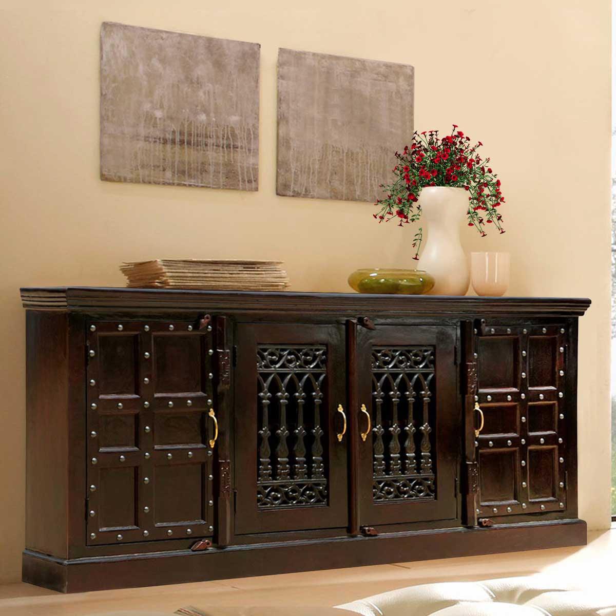 Nottingham Classic Mango Wood 85 Sideboard Buffet Cabinet. Full resolution‎  file, nominally Width 1200 Height 1200 pixels, file with #B48317.