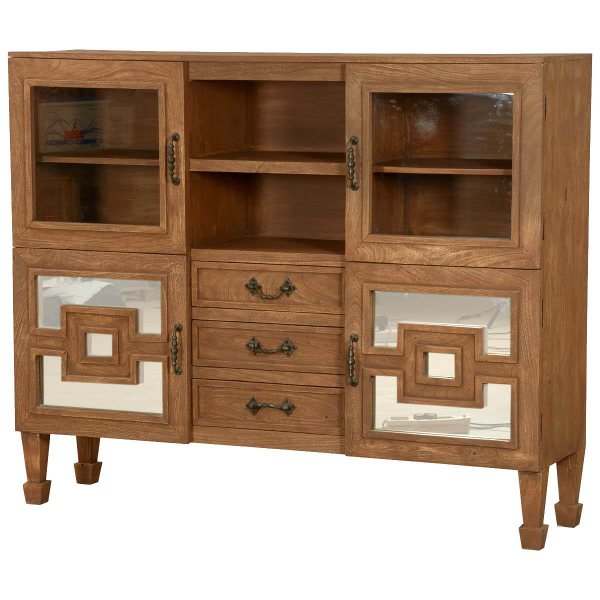 Square in a square acacia wood 63 standing display cabinet for Acacia wood kitchen cabinets