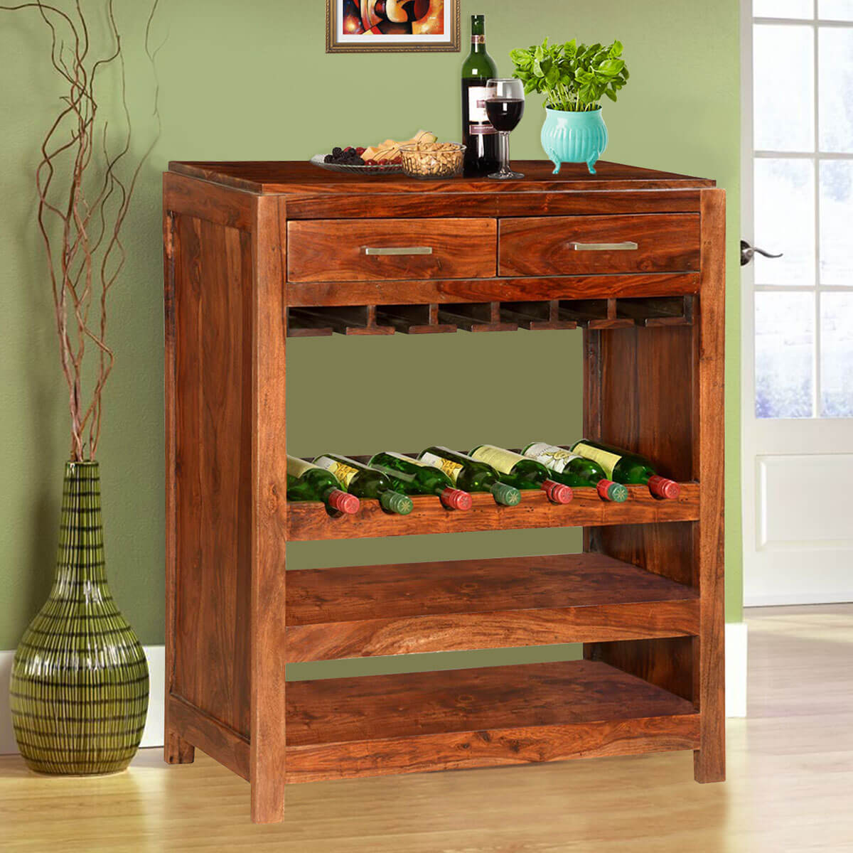 Wood Wine Bar ~ Pioneer modern solid wood bottle wine rack bar cabinet