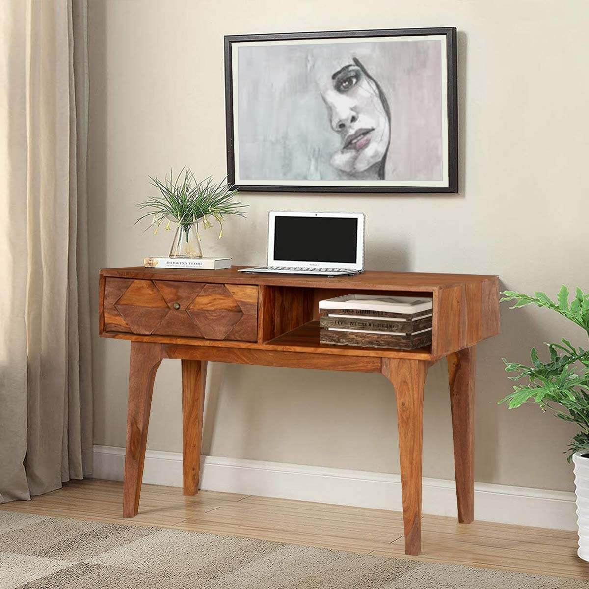 Hand carved diamonds solid wood hall console table desk