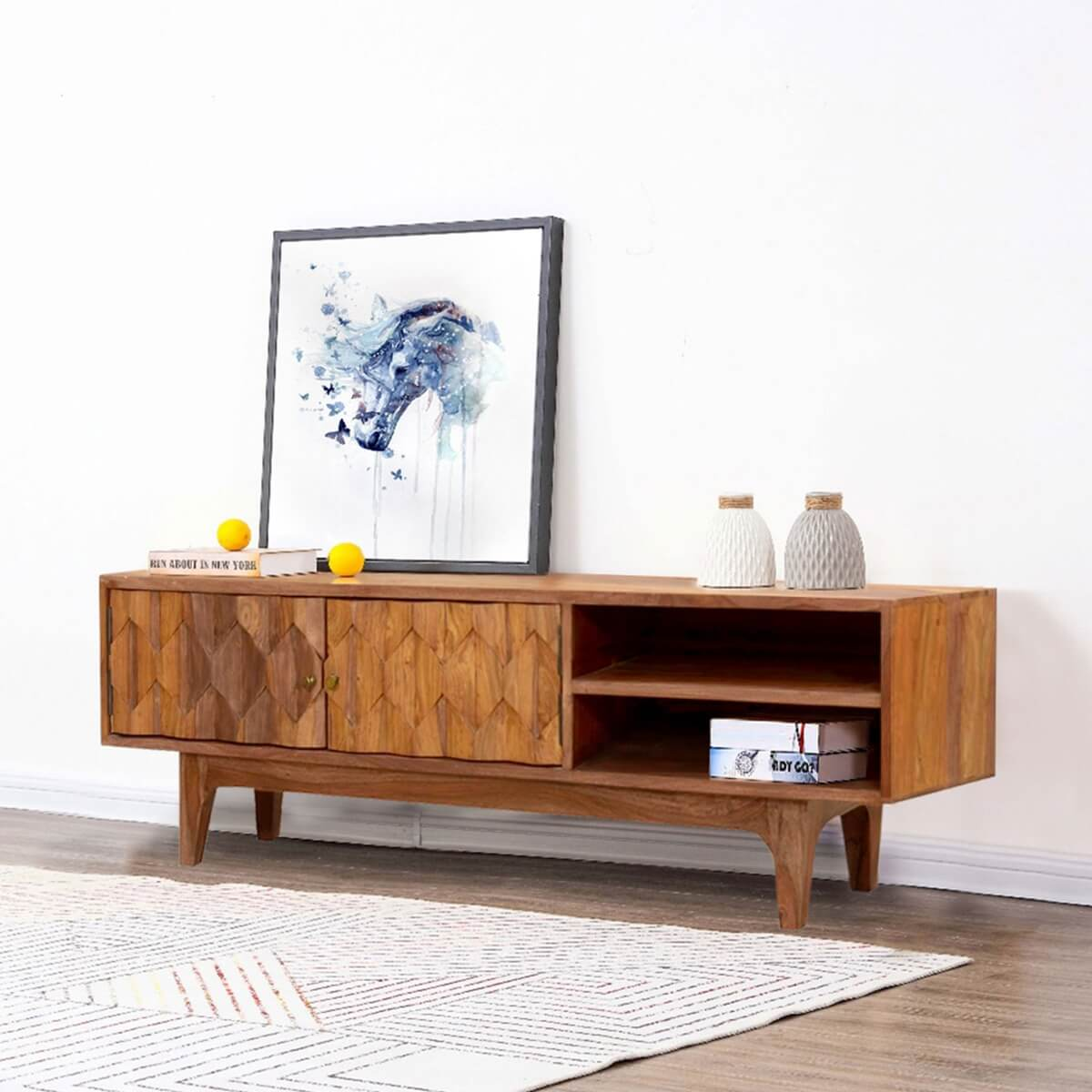 S carved diamonds solid wood tv console media cabinet