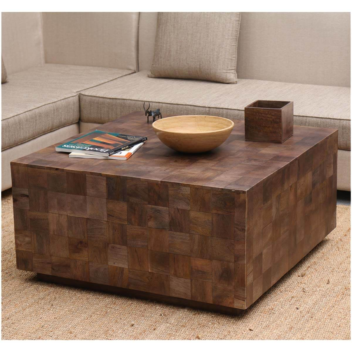 Modern rustic furniture solid wood 36 square coffee table for Solid wood coffee table
