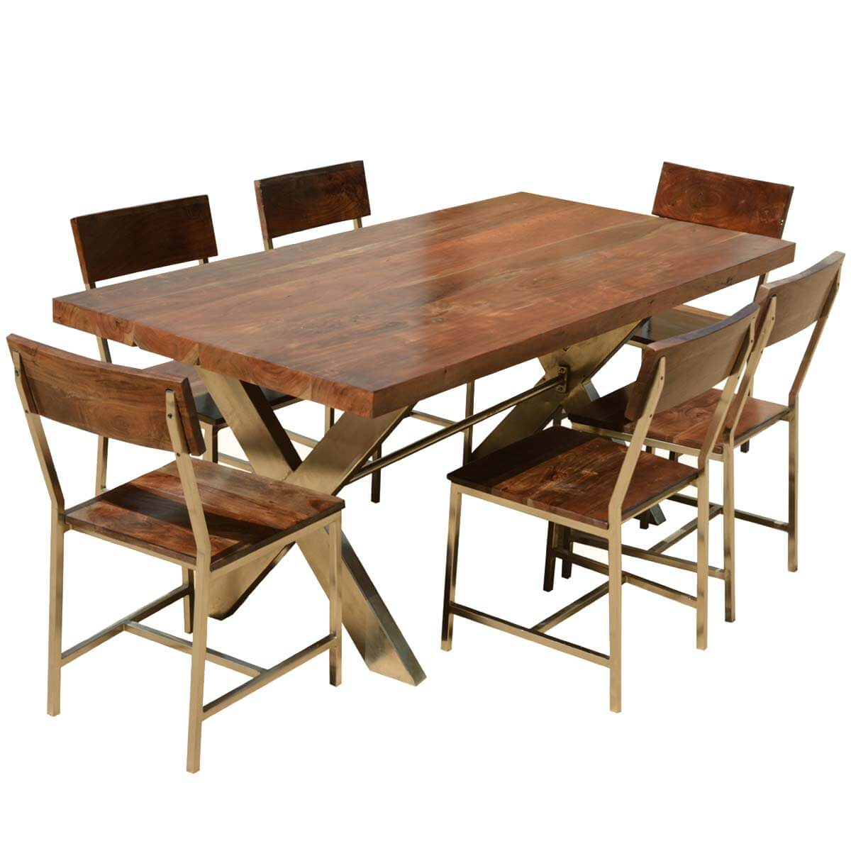 Contemporary Double X Acacia Wood Iron 72 Dining Table W 6 Chairs