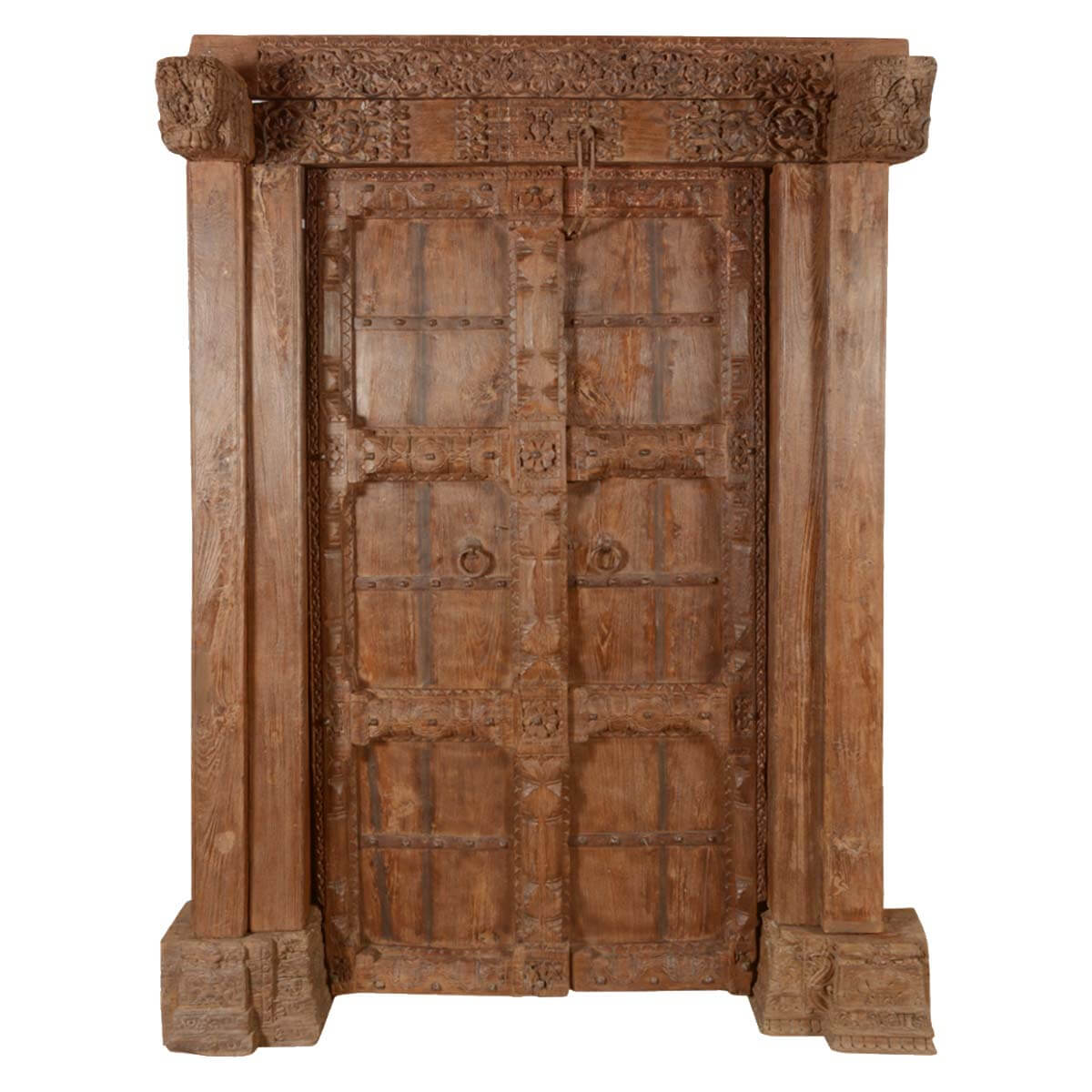 Early elizabethan reclaimed wood hand carved double door for Hand carved wood doors