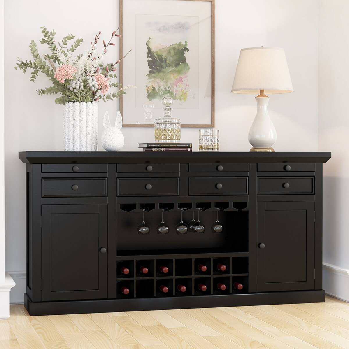 Nottingham Solid Wood Classic Wine Bar Sideboard Cabinet