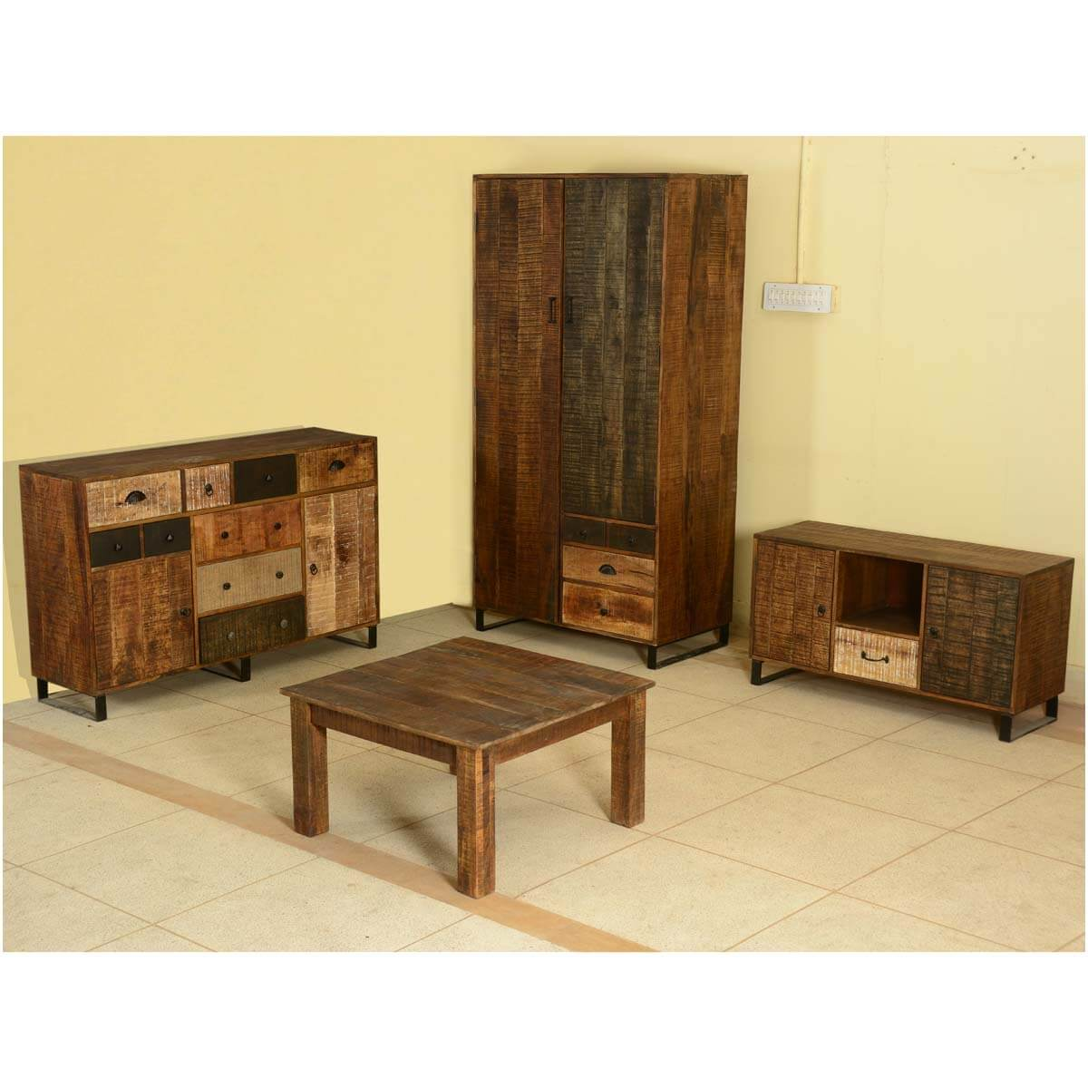 Modern Frontier Mango Wood 4pc Storage Coffee Table Group