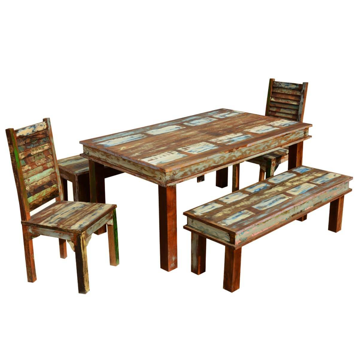 Sierra Reclaimed Wood Furniture Dining Table With 2 Chairs 2 Benches