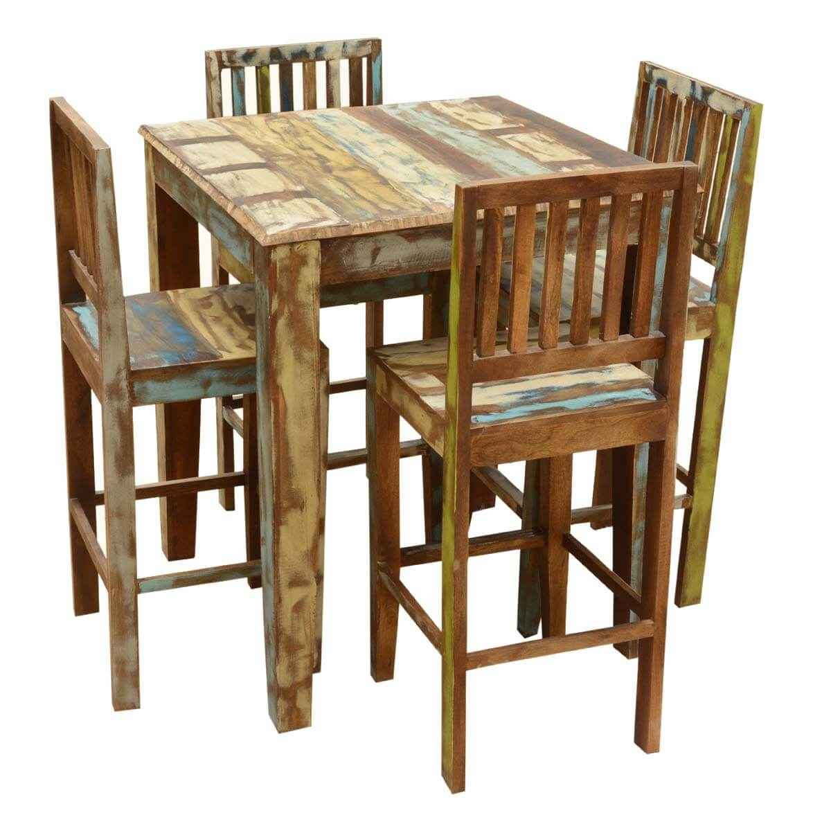 appalachian rustic reclaimed wood high bar table chair set. Black Bedroom Furniture Sets. Home Design Ideas