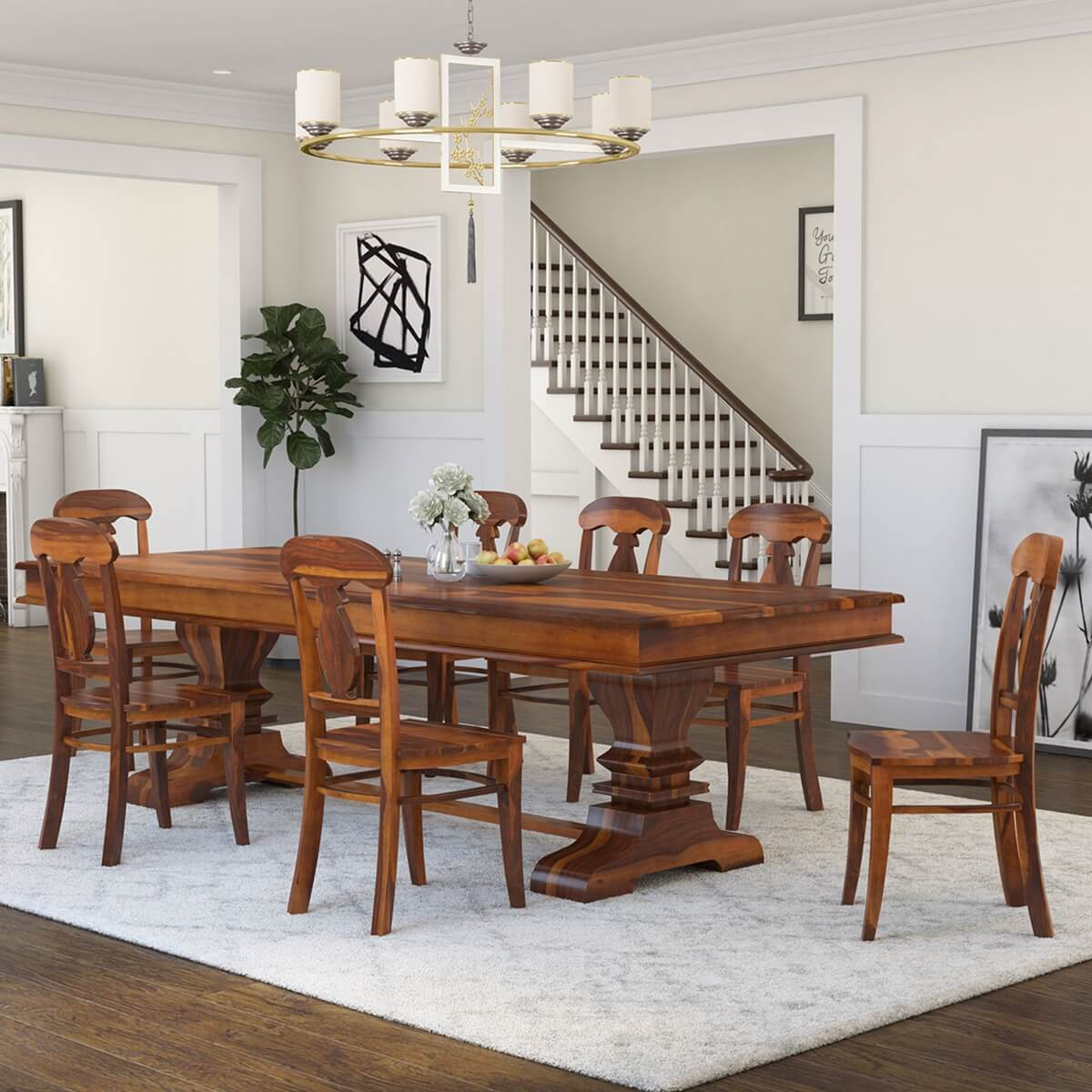 Nottingham solid wood 92 trestle dining table benches 2 for Solid wood dining table