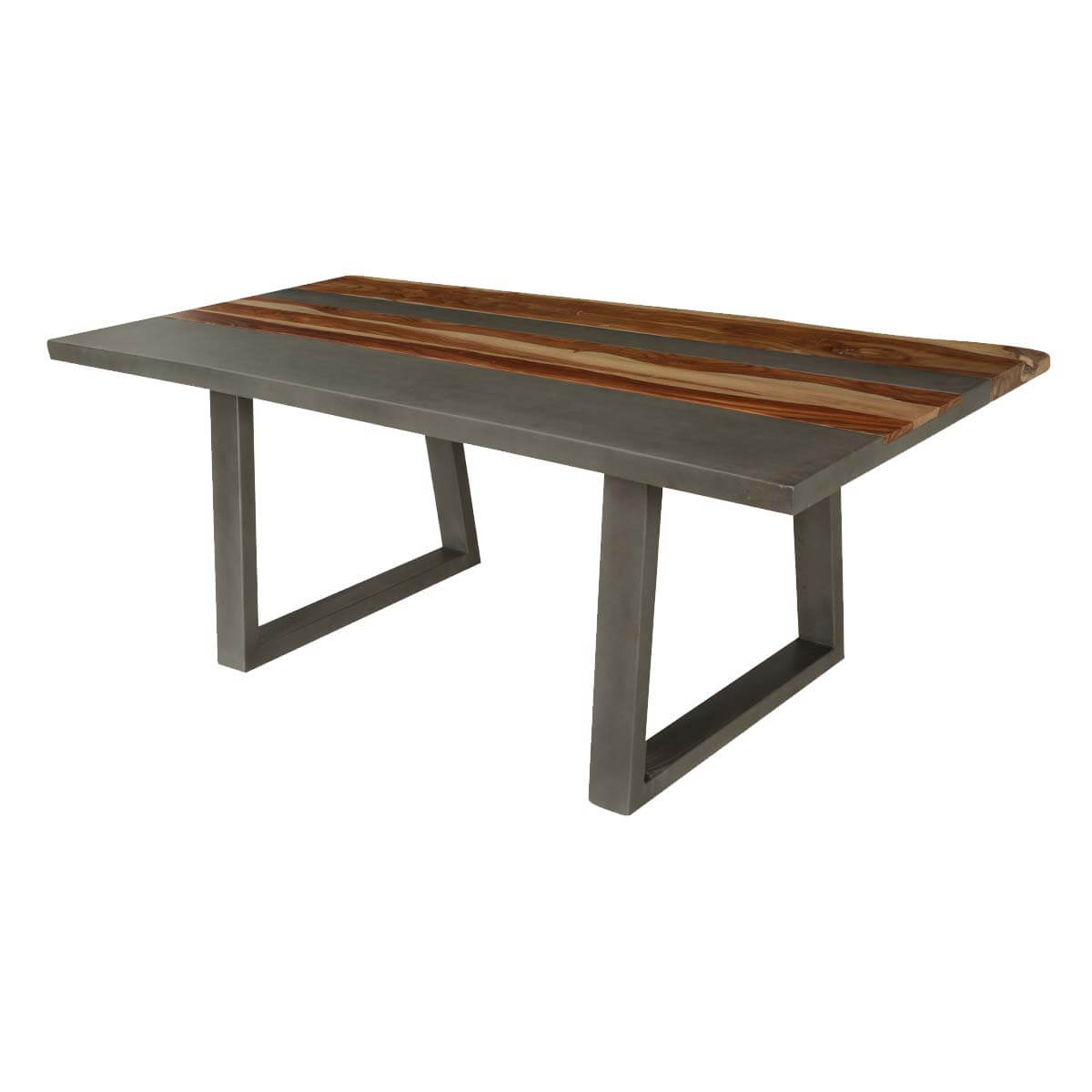 Modern Industrial Stripes Acacia Wood Iron 77 Dining Table