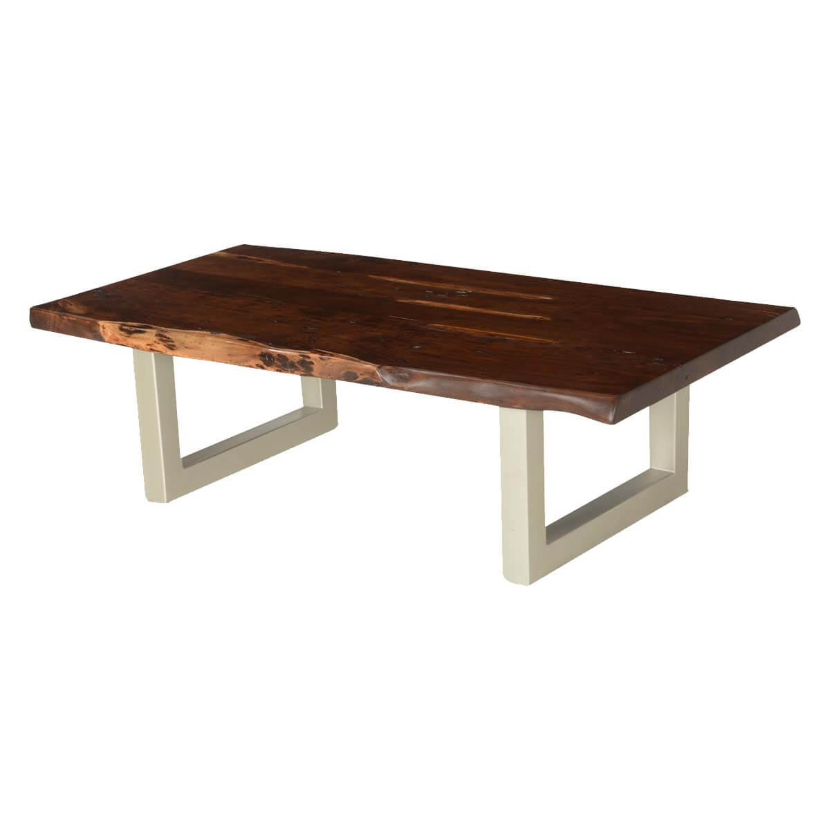 "Modern Frontier Acacia Wood & Iron 53"" Live Edge Coffee Table"