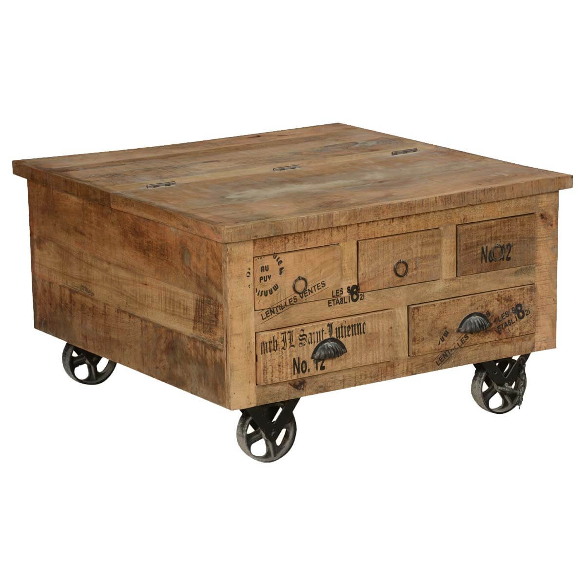 Espresso Coffee Table With Storage: Industrial Style Solid Wood Square Storage Trunk 5 Drawer