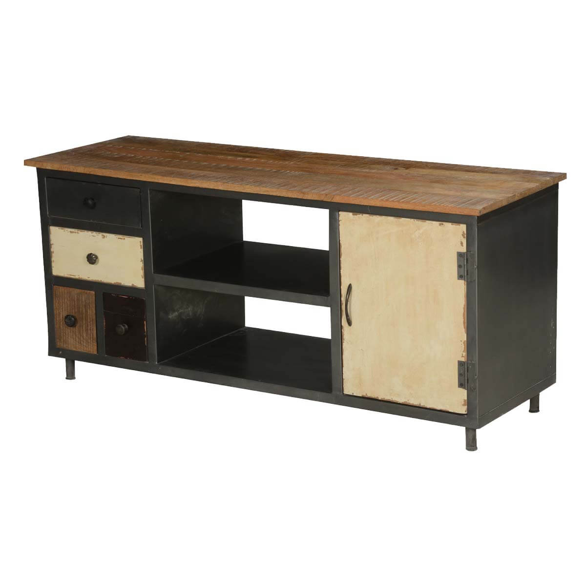 Modern Rustic Solid Wood Iron Media Console Tv Stand