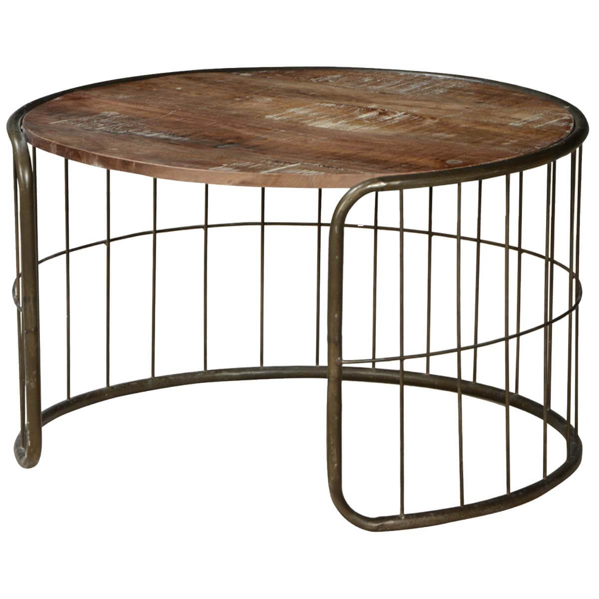 On the fence mango wood iron rustic 30 round coffee table Rustic iron coffee table