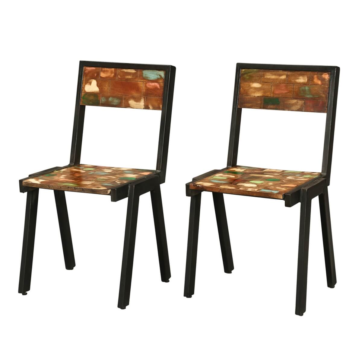 Iron Dining Chairs ~ Painted bricks reclaimed wood iron kitchen dining chair
