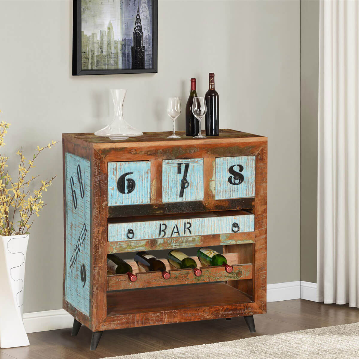 Wood Wine Bar ~ By the numbers reclaimed wood wine rack bar cabinet