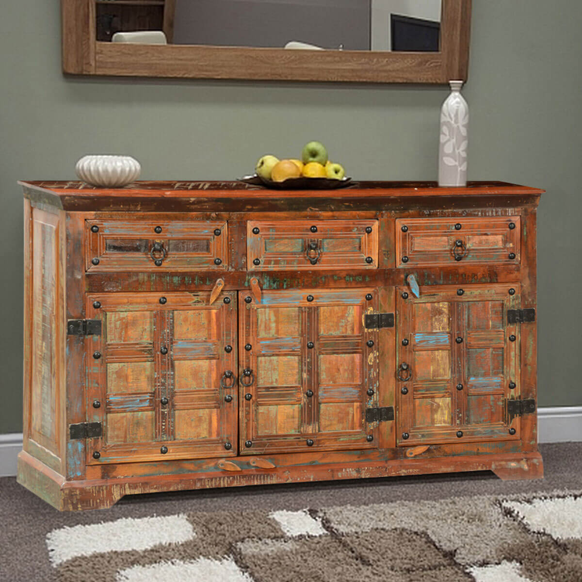 ross rustic plaid reclaimed wood 3 drawer sideboard cabinet. Black Bedroom Furniture Sets. Home Design Ideas
