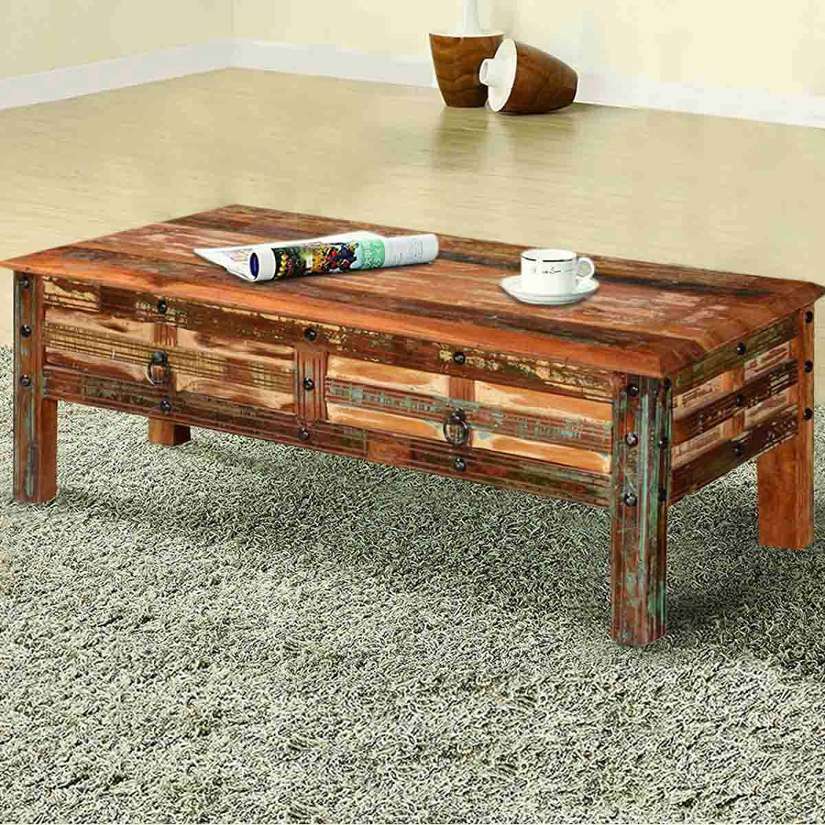 Pioneer rustic reclaimed wood 2 drawer coffee table for Reclaimed coffee table